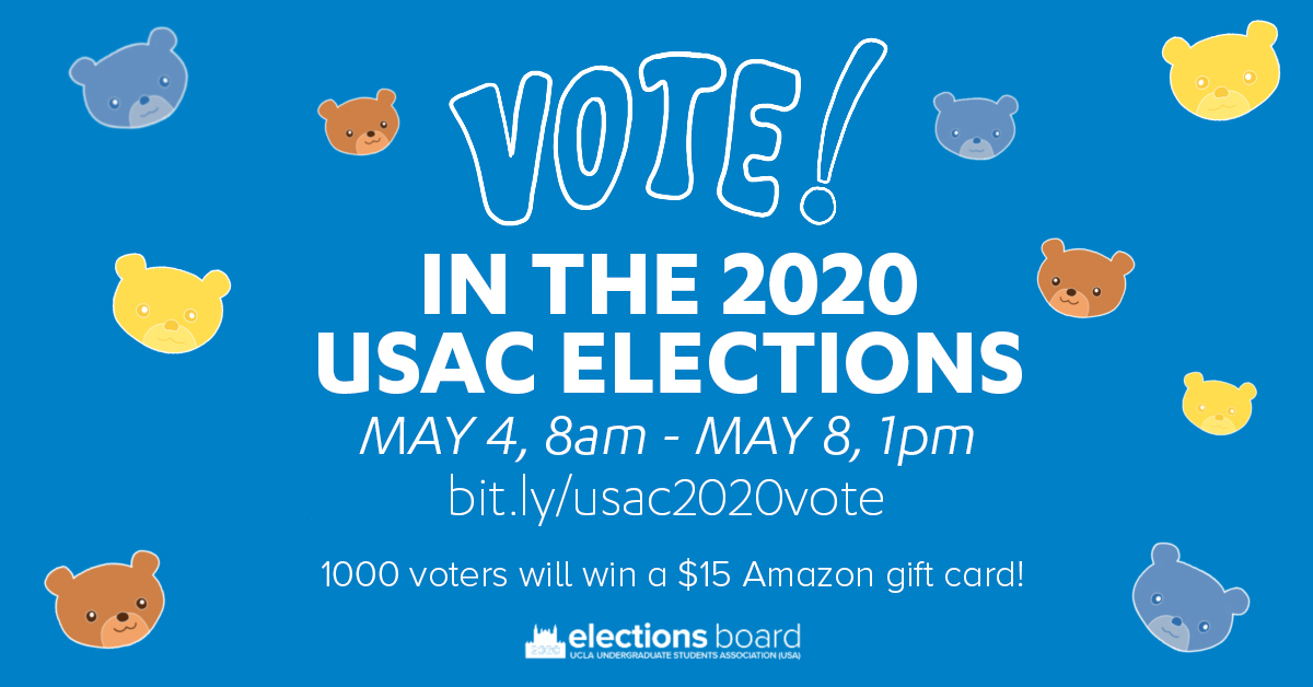 Vote in the 2020 USAC Elections! May 4th 8am to May 8th 1pm. 1000 voters will win a $15 Amazon gift card! -- USA Elections Board